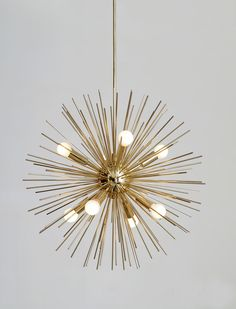 "Mid-Century Modern Large Round Starburst Chandelier Polished Brass Light Pendant 8 bulb 22""diam by InscapesDesign on Etsy https://www.etsy.com/ch-en/listing/520100731/mid-century-modern-large-round-starburst"