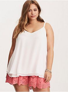 "<div>This crisp ivory cami is working double time with a sexy v-cut front and back. Cut with two floaty, semi-sheer, and swingy chiffon layers, this cami is a dressy upgrade from your everyday tanks.</div><div><br></div><div><b>Model is 5'8.5"", size 1 </b></div><div><ul><li style=""list-style-position: inside !important; list-style-type: disc !important"">Size 1 measures 29 1/2"" from shoulder</li><li style=""list-style-position: inside !important; list-style-type: disc !importa..."
