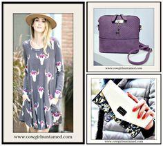 COWGIRL GLAM HANDBAG Small Purple Shoulder Bag with Gold Deer Charm/ Floral Wallet/ Steer with Garland Long Sleeve Dress  #purse #bag #deer #shoulderbag #handbags #wallet #clutch #purple #cowgirl #fashionistas #vegan #steer #skull #dress #minidress #longsleeve #western #womens #clothing #fashion #style #boutique #wholesale #onlineshopping