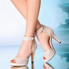 10 cm heel Ivory Wedding shoes ankle strap open toe lace heels Bridal boots #OpenToe