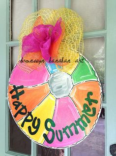Happy Summer Beach Ball Door Hanger Item is hand painted + sprinkled with glitter! Personalization Ideas: - Happy Summer - Happy Days