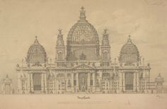 Otto Wagner (1841 – 1918) Project of the Cathedral in Berlin Façade elevation, 1891. Image © ALBERTINA, Wien.