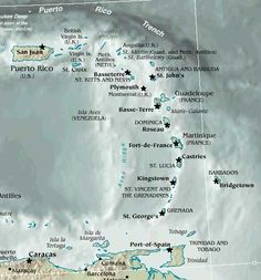 google map of caribbean blank
