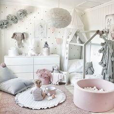 Emma's Magical and Feminine Toddler Room. Emma's Magical and Feminine Toddler Room. Emma's Magical and Feminine Toddler Room - with a DIY Montessori style housebed, swing, pink rug, velour poufs and cushions, pink and grey Baby Bedroom, Baby Room Decor, Nursery Room, Girls Bedroom, Girl Toddler Bedroom, Kid Bedrooms, Toddler And Baby Room, Toddler Room Decor, Wall Decor