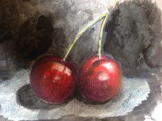 Cerezas Cherries Prismacolor and acrylic by T Saldaña