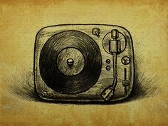 The sketch of vinyl record player icon by sunnyboon