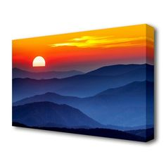 'Sunset Mountain Blues Sunset' Photographic Print on Canvas East Urban Home Size: 81.3 cm H x 121.9 cm W