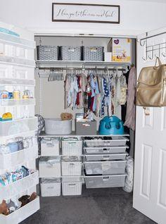 Baby Crollman Nursery & Closet Reveal - My Cancer Chic Nursery Closet_Baby Boy_Container Store Organ