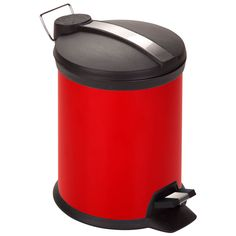 Red 3-liter Steel Step Trash Can, Black, Size Under 3 Gallons (Metal)