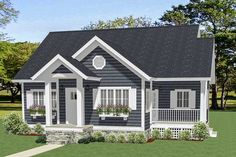 Just the right size for a Vacation getaway Cottage, this charming house plan is easy to clean and maintain.The big, open floor plan offers views that sweep around from the giant family room to the dining area and the kitchen beyond.There's a side screened porch for your family to enjoy too.Both bedrooms have walk-in closets with built-in linen shelves.A big deck in back has plenty of room for a grill and chairs.