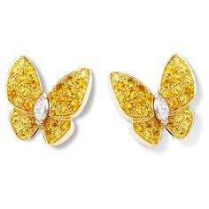Two Butterfly earrings ($18,600) ❤ liked on Polyvore featuring jewelry, earrings, white gold earrings, earring jewelry, white gold jewelry, butterfly jewelry and monarch butterfly earrings