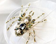 Spider jewelry Spider brooch Summer jewelry by PurePearlBoutique
