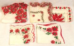 Lot of 5 Vintage Christmas Poinsettia Holly Handkerchiefs Cotton Hankys #Unbranded #Holiday