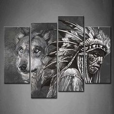 Wall art painting 4 Panel Wall Art Black And White Wolf And Indians Painting The Picture Print On Canvas Animal Pictures For Home Decor Decoration Gift piece (Stretched By Wooden Frame,Ready To Hang) Firstwallart