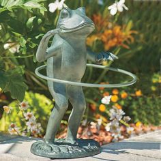 Add Some Whimsy To Your Patio Or Flowerbed With Our Hula Hoop Garden Frog  Sculpture.