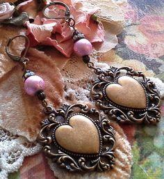 Heart Earrings Brass heart dangle earrings Wedding by BEEBSCLOSET