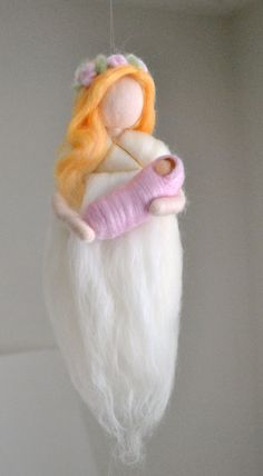 Guardian Angel Wall Hanging Waldorf inspired needle felted doll: Angel with baby