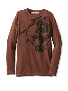 47% OFF Ames Bros Men's Shark Vs Bear Thermal Tee (Chocolate)