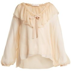 See By Chloé Ruffle-trimmed silk blouse (£275) ❤ liked on Polyvore featuring tops, blouses, nude, silk slip, pink ruffle blouse, silk bow blouse, silk tie blouse and nude blouses