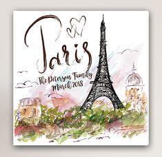 Personalized Paris Canvas Paris Canvas Print Personalized