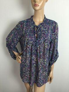 LC Lauren Conrad Floral Multicolor Sheer Roll Tab Long Sleeves Shirt Large | eBay
