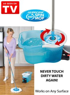 "Have you ever avoided cleaning your floors because you just didn't want to deal with the messy mop, dirty water and sloppy mess on the floor? The Hurricane Spin Mop is an ""As Seen on TV"" product that can put an end to floor cleaning frustrations. It has a simple yet effective design that will leave you wondering how you managed without it."