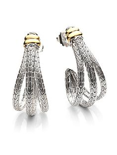 John Hardy Sterling Silver & 18K Yellow Gold Large J-Hoop Earrings