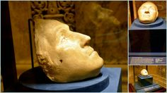 """The """"life mask"""" of the the first US President George Washington inside the The Morgan Library and Museum, New York City"""