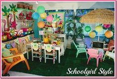 Luau Theme from Schoolgirl Style www. Classroom Setting, Classroom Setup, Classroom Design, Classroom Organization, Kindergarten Classroom, Future Classroom, Luau Theme, Hawaiian Theme, Luau Party