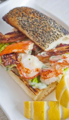 Lobster Club Sandwich - (Free Recipe below) Seafood Dishes, Seafood Recipes, Cooking Recipes, Healthy Recipes, Uk Recipes, Fish Recipes, Bruschetta, Crostini, Paninis