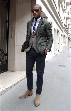 thetieguy: change the chelsea boots to a simple brown brogue or buck for a much better look.