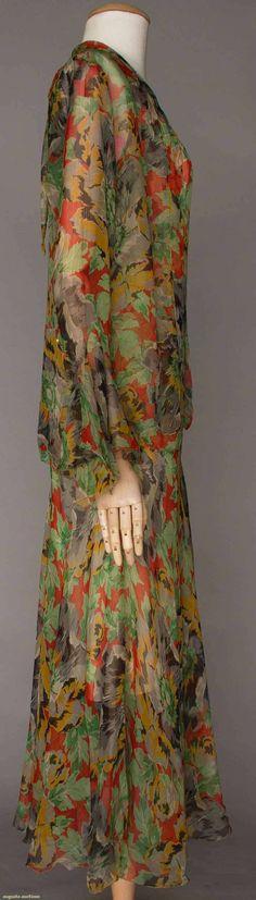 PRINTED CHIFFON DRESS & JACKET, 1930s.