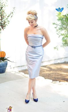 Modern Cinderella. PERFECT hair! The dress is oay. It works. Maybe different shoes... Like just in a lighter shade (like the color of the belt on the dress)