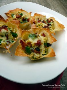 Bacon Asparagus Breakfast Cups - using wonton wrappers