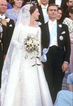 Crown Princess Margrethe of Denmark and Consort Prince Henrik at their wedding, 1967.