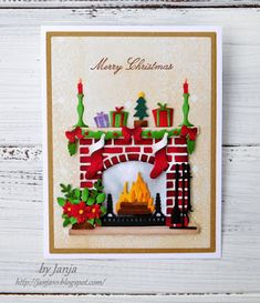 Christmas fireplace by Janja - Cards and Paper Crafts at Splitcoaststampers Pop Up Christmas Cards, Christmas Card Crafts, Homemade Christmas Cards, Christmas Paper, Xmas Cards, Homemade Cards, Handmade Christmas, Holiday Cards, Diy Christmas Fireplace