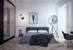 schlafzimmer modernes design parkettboden fischgradmuster
