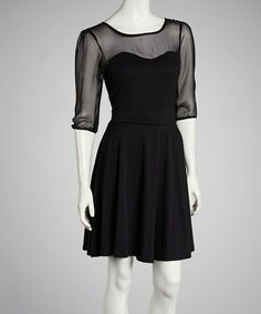 Take a look at this Black Sheer Panel Three-Quarter Sleeve Dress by Reborn Collection on #zulily today!