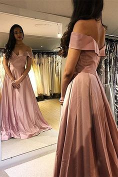 Bohemian Long A Line Pink Prom Party Dress Off The Shoulder With Slit Blush Pink Prom Dresses, Winter Prom Dresses, Prom Party Dresses, Bridesmaid Dresses, Formal Dresses, Wedding Dresses, Orange Blush, Prom Dresses Online, Up Girl