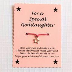Special Goddaughter Wish Bracelet, Keepsake Gift, Stocking Filler, Christmas Gift For Her, Goddaughter Star Heart Charm Bracelet,