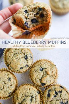 Blueberry Recipes Sugar Free, Dairy Free Recipes Healthy, Gluten Free Blueberry Muffins, Sugar Free Vegan, Healthy Muffin Recipes, Low Sugar Recipes, No Sugar Foods, Sugar Free Desserts, Snacks Recipes