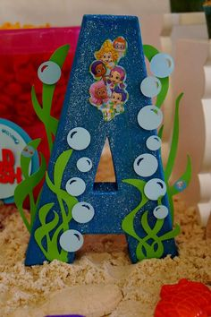 Decorated letter at a Bubble Guppies birthday party! See more party planning ideas at CatchMyParty.com!