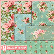 Roses - Floral Collage Sheet - Green - Turquoise - Digital Scrapbooking Pack - Decoupage - Digital Paper - Printable - 1618