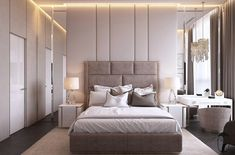 Explore a diverse selection of transitional bedroom ideas to see how classic and contemporary decor can come together in one streamlined up-to-date style. Luxury Bedroom Design, Bedroom Bed Design, Home Decor Bedroom, Modern Bedroom, Home Interior Design, Bedroom Ideas, Bedroom Wall, Exterior Design, Master Bedroom