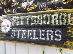 Vintage Pittsburgh Steelers Sign  Reclaimed Wood Sign Recycled Wood Sign Rustic Wood Sign. $50.00, via Etsy.