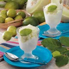Lime Honeydew Sorbet, totally gonna try this with my home grown honeydew.