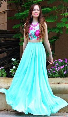 long indian skirts pinterest | Mint blue and pink floral crop top skirt set online shopping India ...