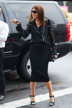 Hot Shots: The Best Street Style at NYFW (Updated!): Carine Roitfeld worked her signature edgy-cum-posh mix.