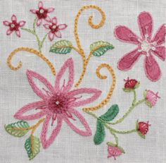 Crewel Embroidery kit Dahlia pin cushion & by FineStitchStudio