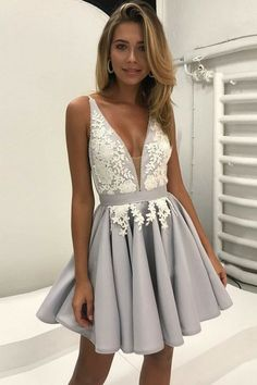 simple a-line deep v-neck homecoming dresses, chic grey lace short prom dresses, fashion homecoming party dresses 2017. semi-formal dresses.